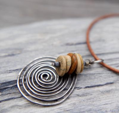 *SOLD OUT* Picture jasper and sterling silver spiral necklace