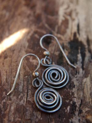 *SOLD OUT* Rustic sterling silver spiral dangles