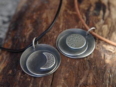 *SOLD OUT* Full moon and crescent moon sterling silver necklaces