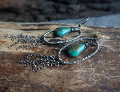 Fine Silver Turquoise tassel earrings