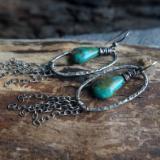 Fine Silver Turquoise tassel earrings