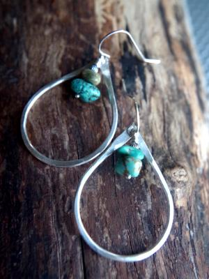 Teardrop shaped hoops - Oregon Rain drops (turquoise)