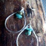 Teardrop shaped hoops - Oregon Rain drops (turquoise)