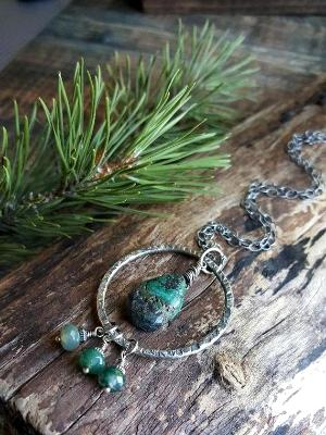 Sterling Silver necklace with Moss Agate and Turquoise