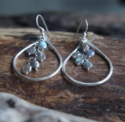 Mystic Labradorite rain earrings