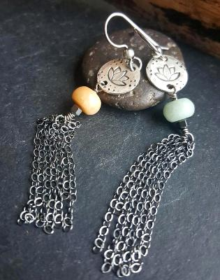 Sterling Silver Lotus earrings - Lotus earrings with Amazonite and Sterling Silver tassels