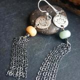 Sterling Silver Lotus earrings - Lotus earrings with Amazonite and Sterling Silver tassels