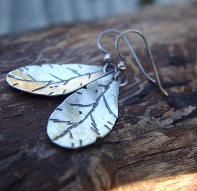 *SOLD OUT*Sterling silver autumn leaves earrings