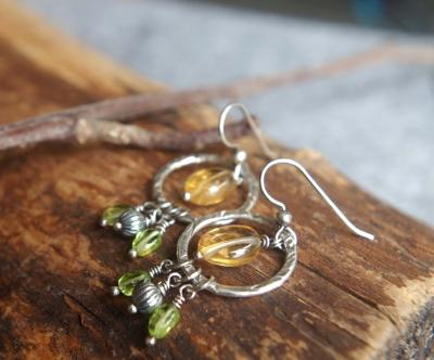 Citrine and Peridot earrings