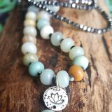 Lotus necklace with Amazonite and Hematite