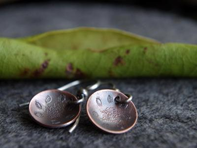 *SOLD OUT* Folklore flower copper and sterling silver earrings