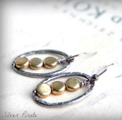 Sterling silver and brass hoops