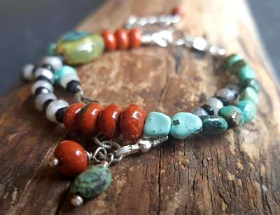 Frida bracelet - Mixed gemstones and Sterling Silver