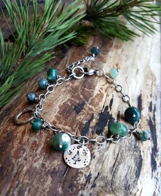 Woodland - Sterling Silver Moss Agate bracelet